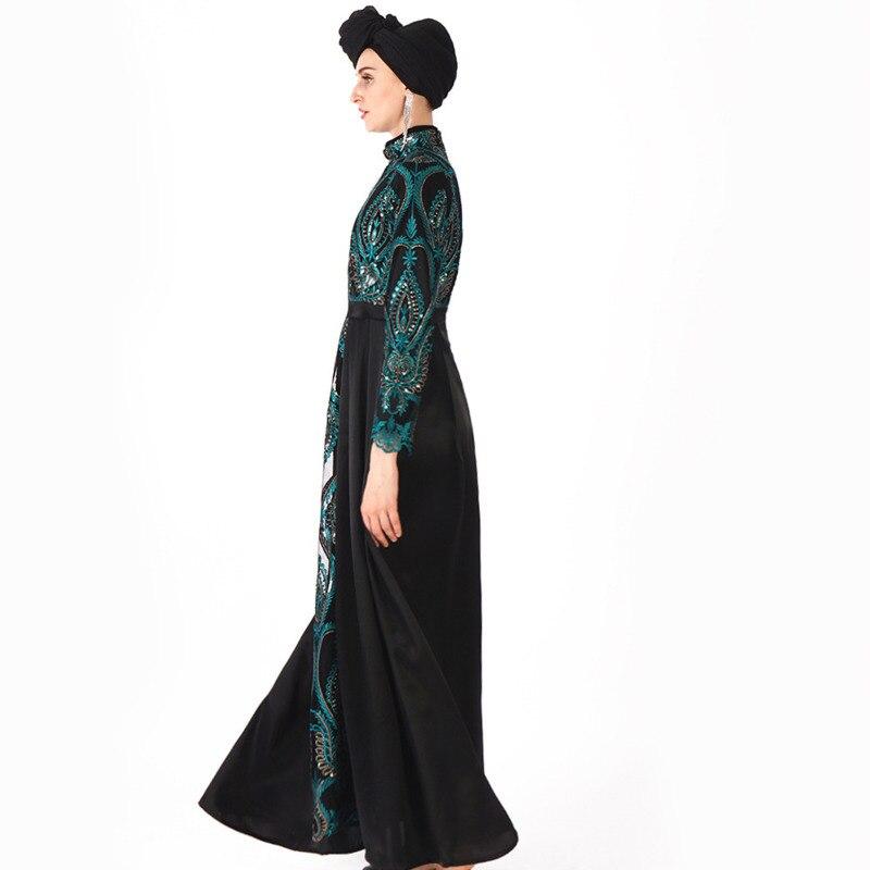 Robe musulmane Abaya femmes du moyen-orient brodé paillettes Robe de soirée Maxi Robe Abaya Robe émirats arabes unis dubaï saoudien Eid - 2