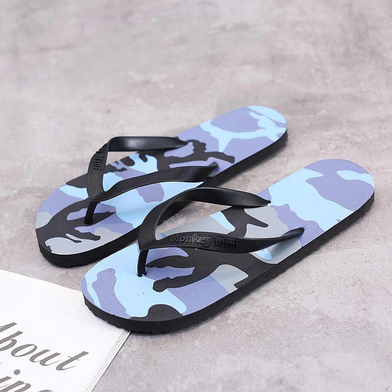 الصيف شبشب رجالي الوجه يتخبط شقة أحذية الشاطئ داخلي وخارجي التمويه شجرة جوز الهند نمط إيفا الانزلاق على النعال حذاء رجالي
