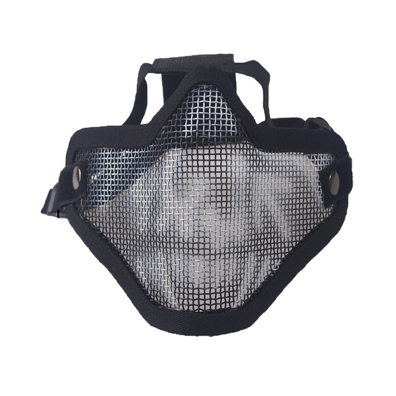 Airsoft Mask Half Lower Face Metal Steel Net Mesh Mask Cycling Tactical Hunting Protective CS Shooting Breathable Half Face Mask