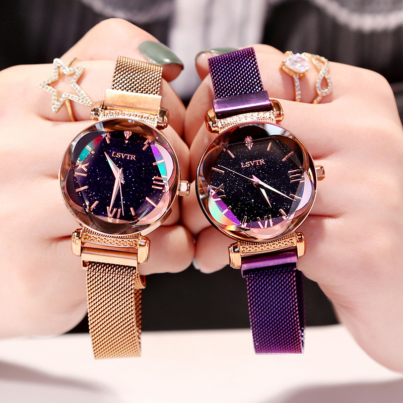 VOHE Luxury Crystal Star Sky Women Magnetic Watches Purple Lady Steel Strap Magnetic Buckle Bracelet Watch Roman Numeral