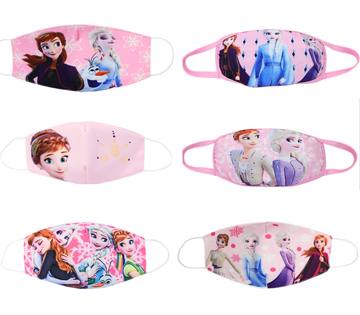 2020 New Disney Frozen Half Muffle Face Mask Adult Kids Children Cottons Dustproof Anime Cartoon Mouth Half Muffle Face Mask