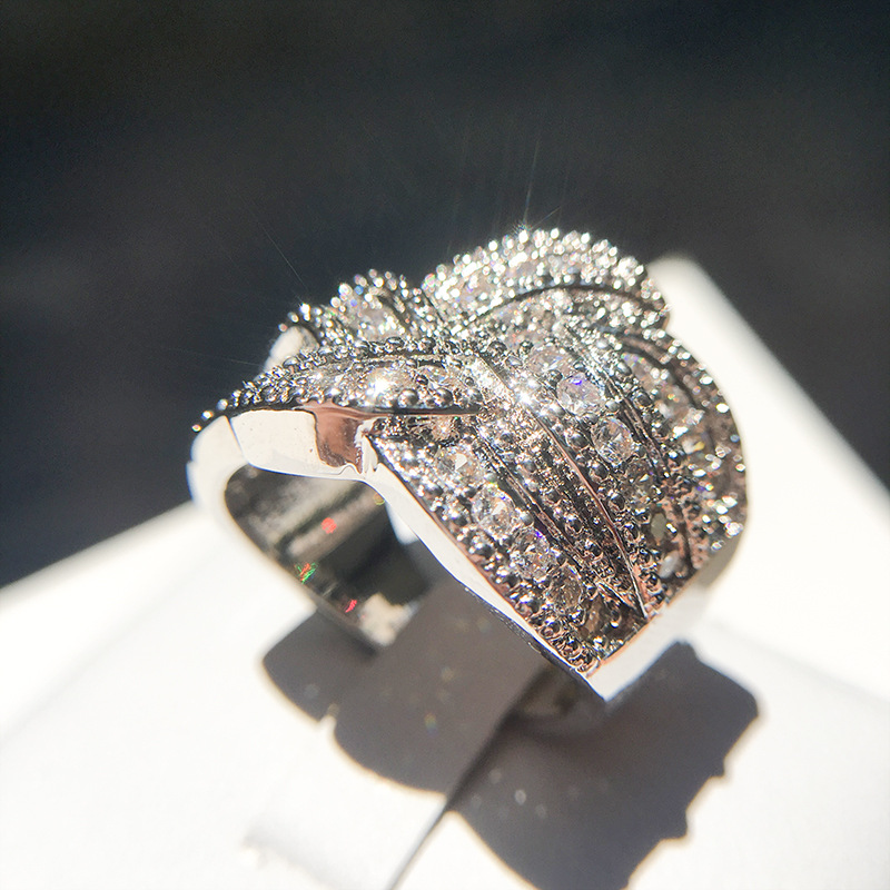 2021 New Bling CZ Zircon Stone S925 Sterling Silver Color Band Rings for Women Wedding Engagement Fashion Luxury Jewelry 2