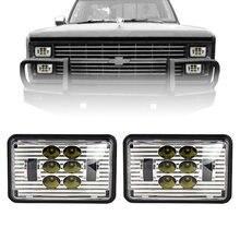 Um par 55w 4x6 Polegada praça lâmpada led faróis de condução luz suporte montagem para jeep