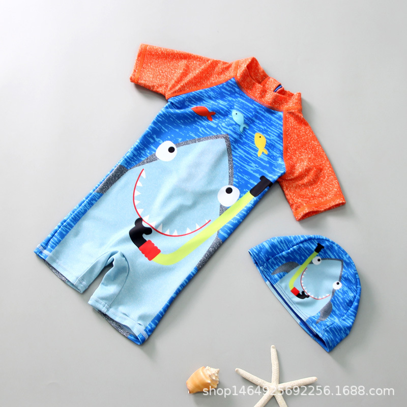 Cartoon KID'S Swimwear Men And Women Children Cute Korean-style Siamese Swimsuit Baby Model Clothing Sun-resistant Bathing Suit