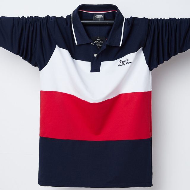 2020 Polo Shirt Men Big Tall Long Sleeves Top Tees Cotton Male Large Tee Autumn Fit Slim Patchwork Polo Shirts Plus Size M 5XL