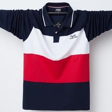 2020 camisa polo dos homens grande altura mangas compridas superior t de algodão masculino grande t outono caber magro retalhos polo camisas plus size M 5XL