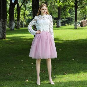 Image 4 - 5 שכבות 60cm Midi טול חצאית נסיכת נשים למבוגרים טוטו אופנה בגדי Faldas Saia Femininas נהיגה לראשונה חצאית קיץ סגנון