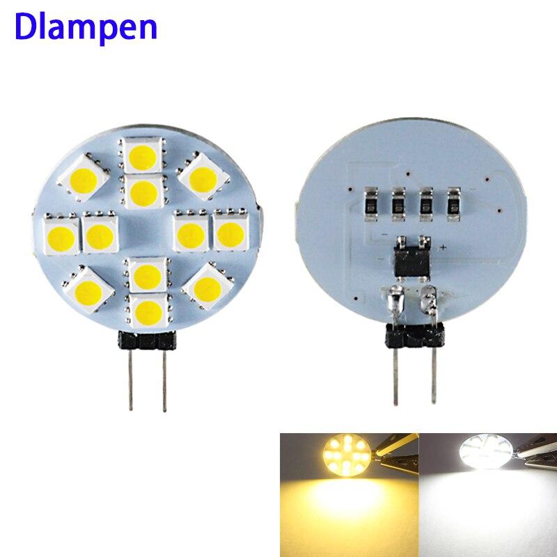5pcs 12v rodada lâmpada luz conduziu a lâmpada g4 smd 5050 leds 2W 12 12 V volts Substituir lâmpada de halogéneo de poupança de energia Local 200Lm branco Quente