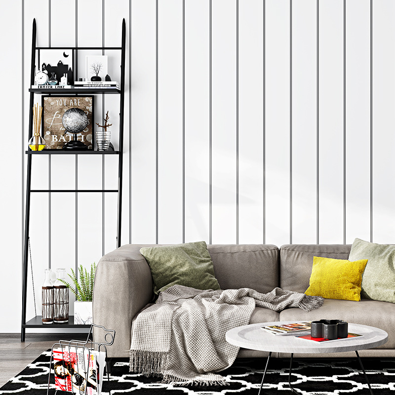 Nordic Wallpaper Modern Minimalist White Vertical Striped Bedroom Background Of Television In The Drawing Room Ceiling Wallpaper