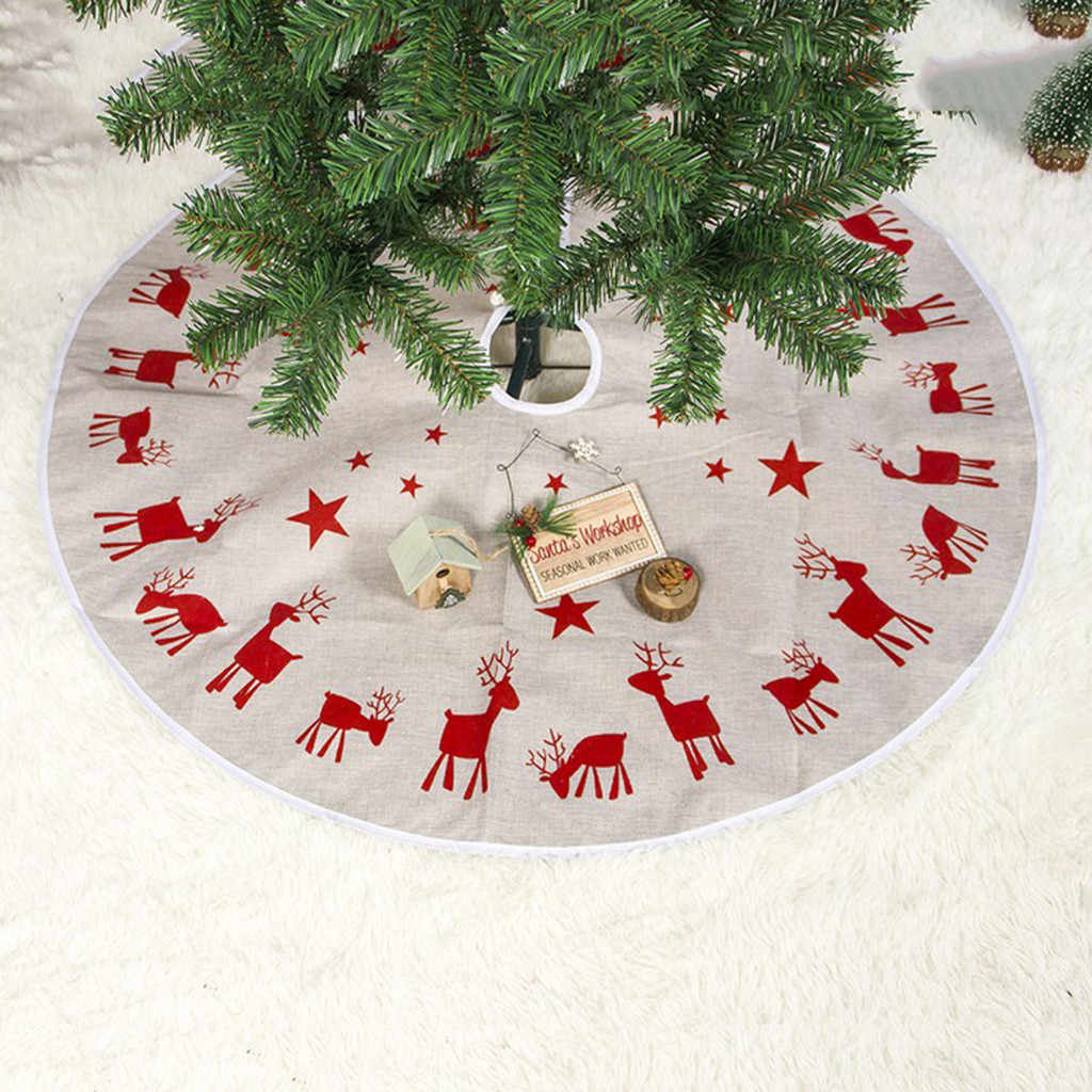 New Christmas Tree Skirt 100cm Fabric Elk Print Christmas Tree Foot Cover Carpet Mat For Home New Year Christmas Decoration
