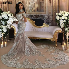 Vintage Silver Lace Mermaid Muslim Wedding Dress with Long Sleeves High Neck Saudi Arabia Bridal Gowns Dubai African Bride Dress(China)