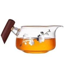 Wooden handle tea cup teapot heat-resistant fair sea resistant decal baked glass