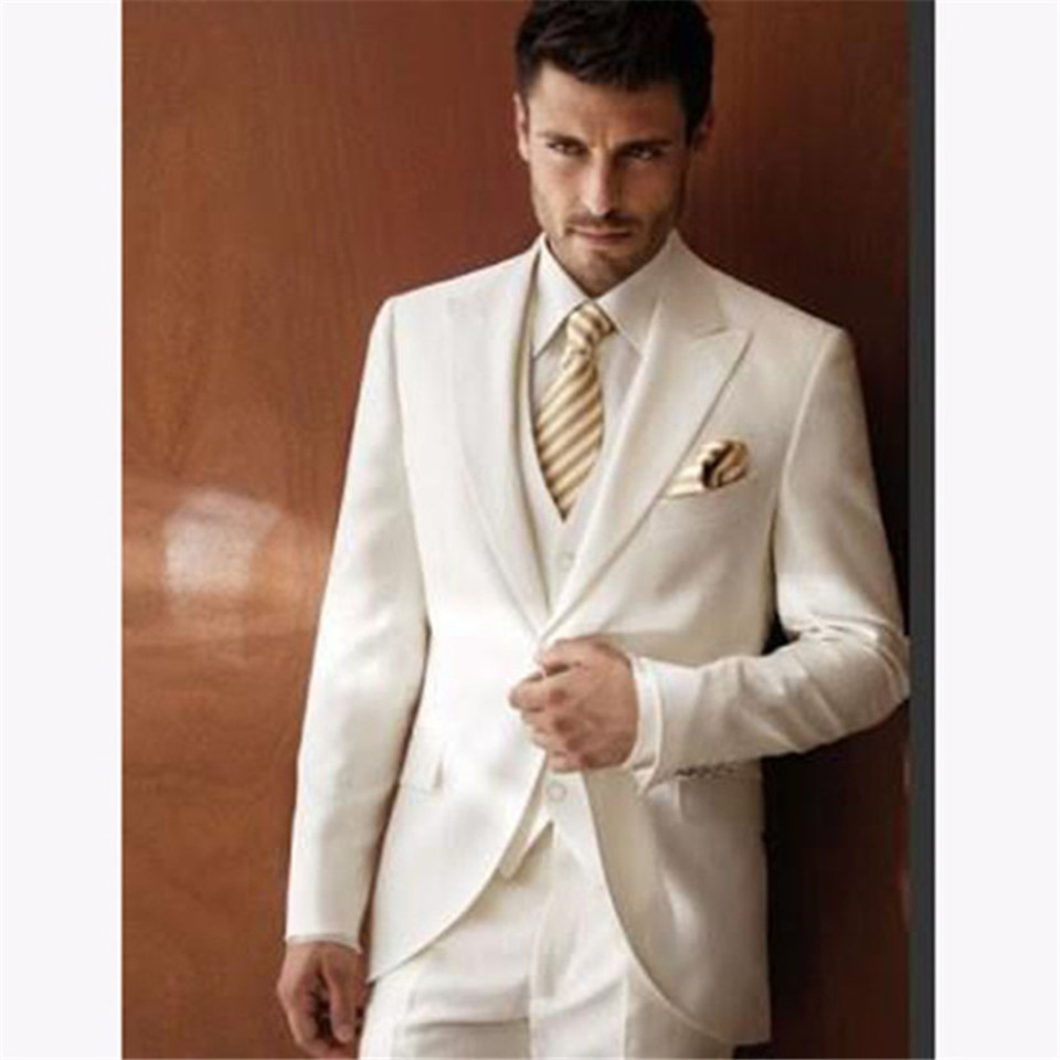 New Classic Men's Suit Smolking Noivo Terno Slim Fit Easculino Evening Suits For Men Ivory Gun Collar A Button Groom Wedding Bes