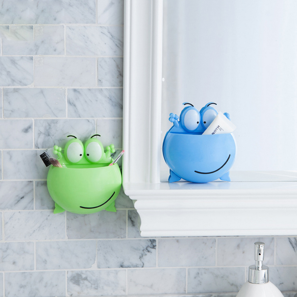 Bathroom Accessories Toothbrush Holder Wall Suction Cups Shower Holder Cute frog Sucker Toothbrush Holder Suction Hooks Shelf image