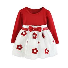 цены Girls Dress 2019 New Kid Cute Baby Long Sleeve Tulle Patchwork Flower Bow princess Dresses Toddler Girl Clothes vestido infantil