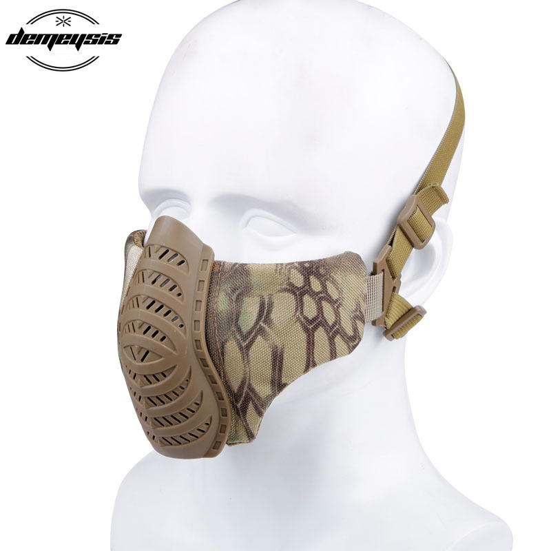 1000D Nylon Airsoft Paintball Half Face Mask Military Tactical Protective Mask Combat Shooting Paintball CS Accessory