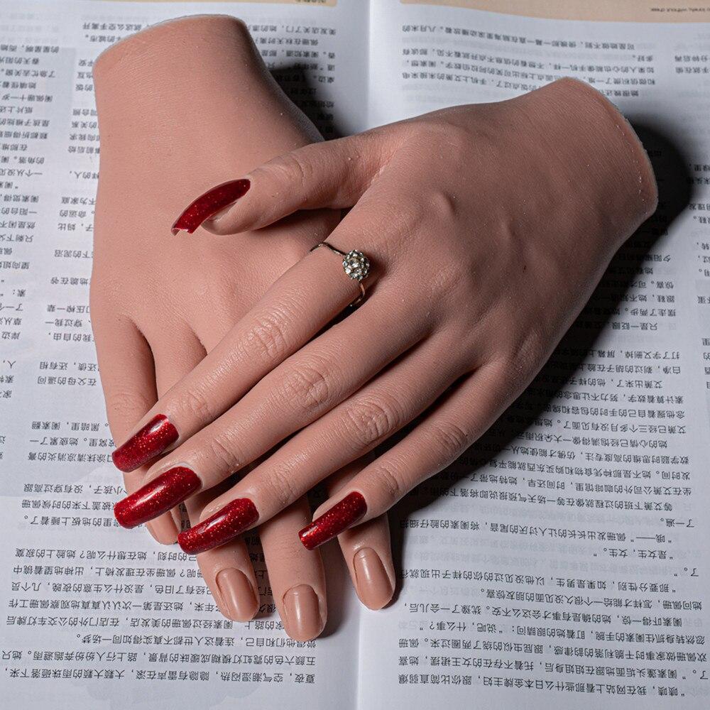 Manequim de mão para adultos modelo de mão falsa, com dedo flexível, ajuste de display, modelo de unhas móveis