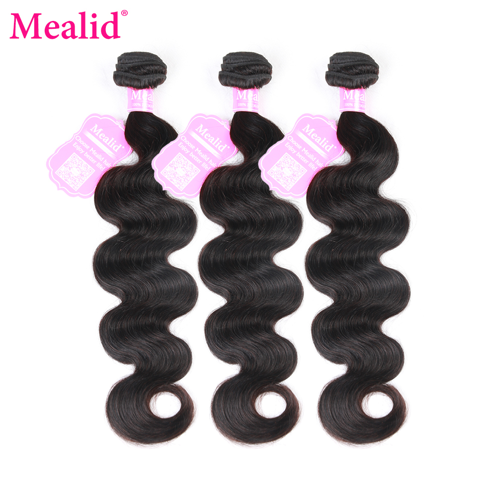 Mealid Peruvian Body Wave Hair Bundles Extensions 3 4 Bundles Non-Remy Natural Color 10-30inch 100 Human Hair Weaving