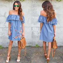 Весеннее и летнее Новое Стильное свободное джинсовое платье