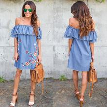Spring and summer new style Embroidered loose strapless denim dress Sexy lotus leaf sleeve