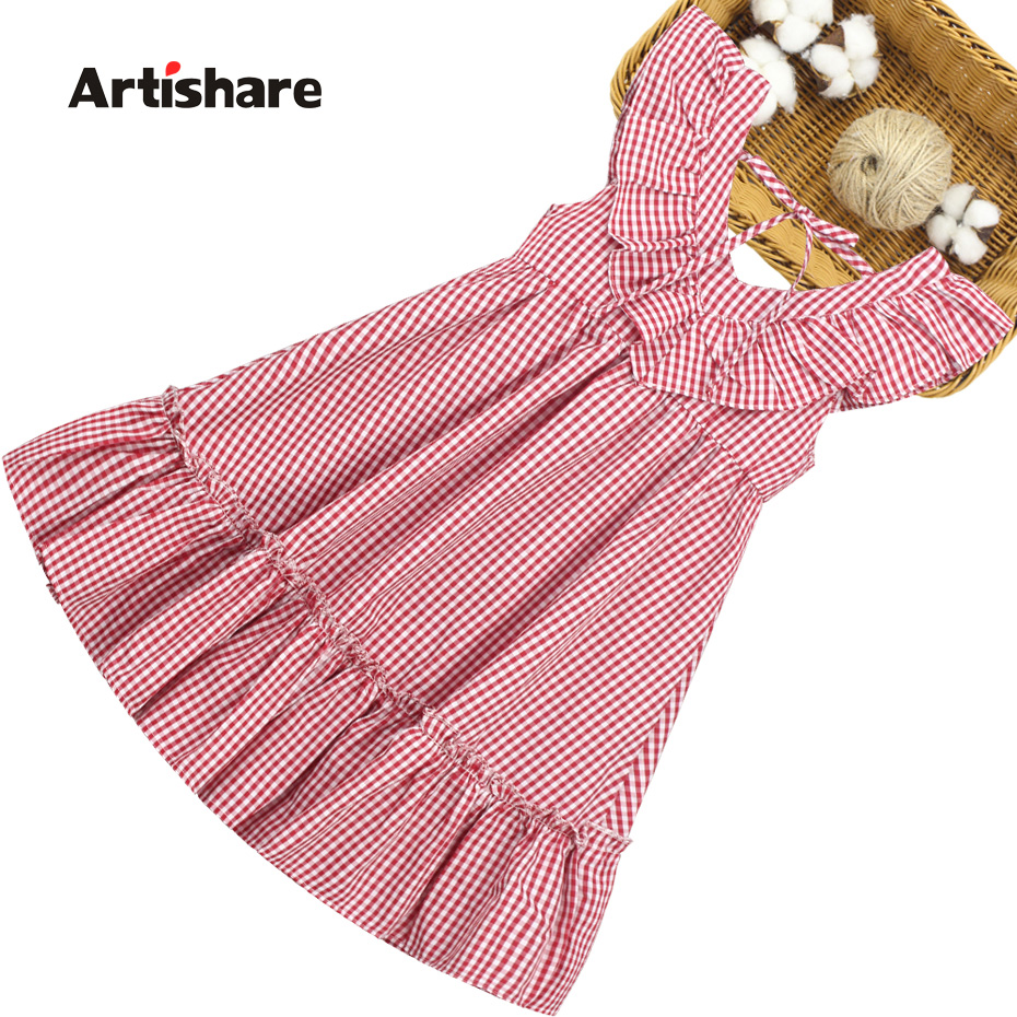 Summer Dress Girl Sleeveless Kids Dresses For Girls Plaid Pattern Kid Dress Teenage Childrens Clothing 6 8 10 12 14