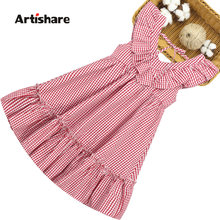 Summer Dress Girl Sleeveless Kids Dresses For Girls Plaid Pattern Kid Dress Teenage Childrens Clothing 6 8 10 12 14