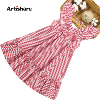 Летнее платье для девочек, детские платья без рукавов для девочек, клетчатое детское платье, Подростковая детская одежда 6 8 10 12 14