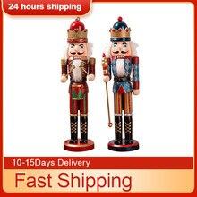 Mini Figurines de casse-noisettes en bois de 38CM, cadeau de noël, poudre scintillante et brillante, ornements, 2020