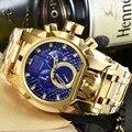 Marca de luxo Design Totalmente Funcional de Ouro Dos Homens de Aço Inoxidável Completa Relógios de Quartzo relógios de Pulso Masculino Relogio Dourado Masculino