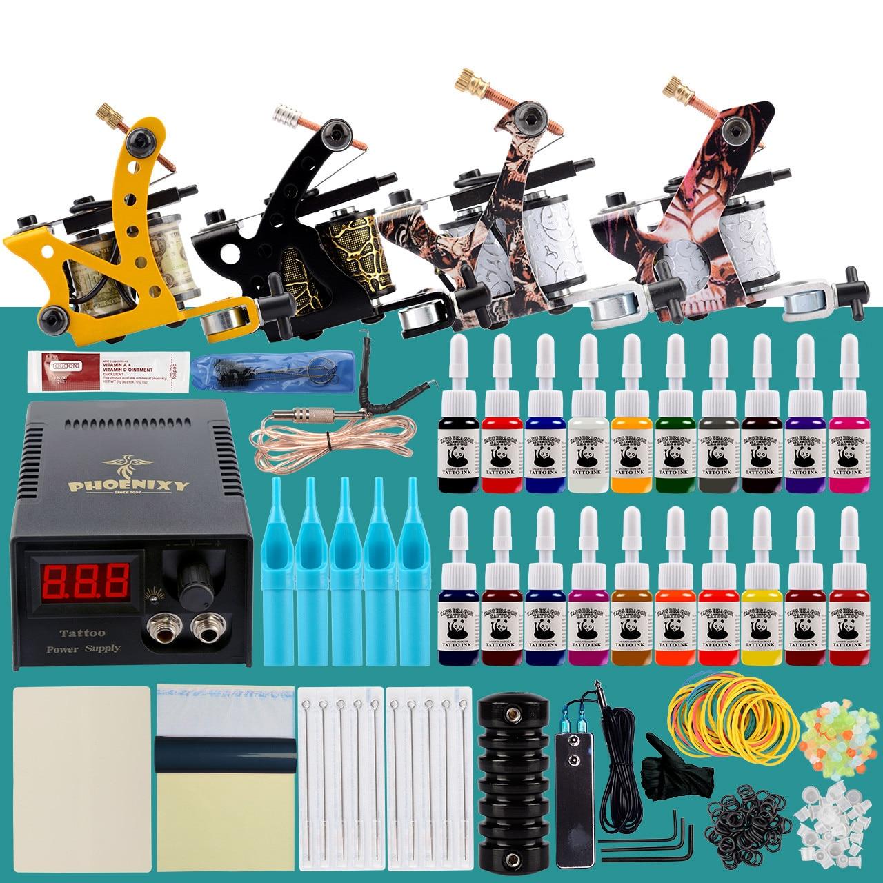 Professional Tattoo Kit Tattoo Machines Set Coil Guns LCD Power Supply Permanent Ink Tattoo Equipment Makeup Complete Tattoo Set(China)
