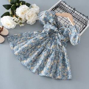 Одежда для маленьких девочек летняя одежда с цветочным рисунком, платье с короткими рукавами для малышей; Одежда для маленьких девочек одежда для малышей в возрасте 1 года платье принцессы, на день рождения, вечерние платья