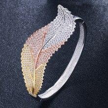 European and American Handicraft Fashion Individuality Creative Leaf Bracelet Ultra-flashy Luxury Zircon