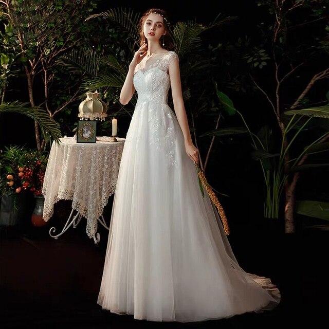 Boho robe de mariee vestido novia wedding dress longue Robe De Soiree simple robe de soiree bride to be gown lace robe 3