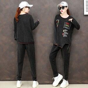 Image 3 - מקסימום לולו 2019 סתיו אופנה קוריאני גבירותיי חולצות ומכנסיים נשים פאנק שתי חתיכות סטי תלבושות מזדמנים רקמת בגדים בתוספת גודל