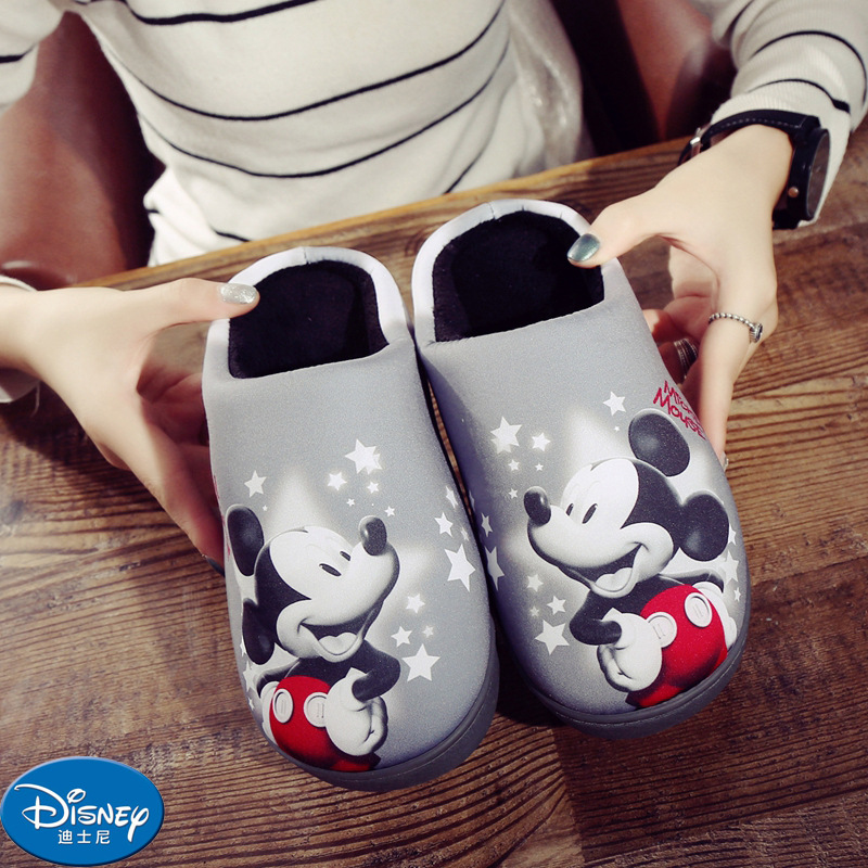 Disney Children's Cotton Slippers Cartoon Mickey Mouse Winter Home Warm Boy Thickening Out Slipper Soft Non-slip Size 35-40