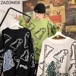 Chandail hommes Harajuku mode tricoté 2020 nouveau Streetwear dinosaure dessin animé pull col rond surdimensionné décontracté Couple mâle chandails
