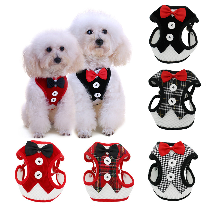 Puppy Cat Harness and Leash Set Breathable Pet Harness Vest For Small Dogs Rabbits Mesh Dress Bow Chest Belt Collar Chihuahua