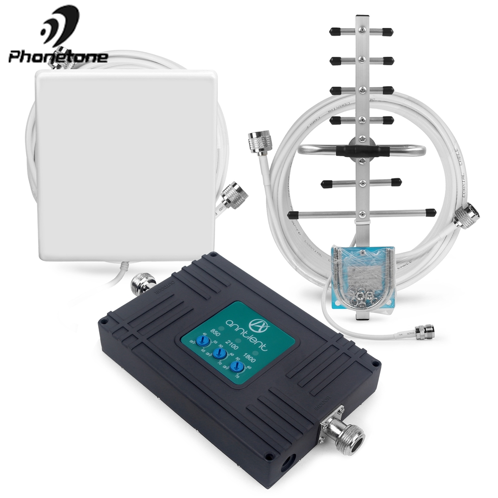 Hot Sale! Mobile Signal Booster 850/1800/2100 MHz 70dB 2G GSM 3G DCS 4G LTE Mobile Phone Repeater Band 5/3/1 Signal Boosters Kit