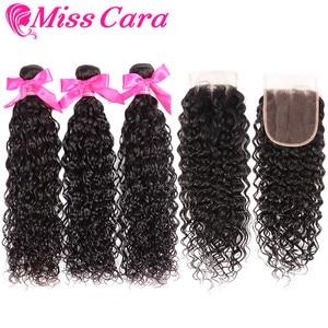 Image 3 - Peruvian Water Wave Bundles With Closure 100% Remy Human Hair 3/4 Bundles With Closure Miss Cara Hair Bundles With Closure