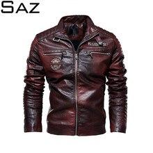 Saz jaquetas de couro dos homens nova jaqueta casual motociclista casacos de couro blusão europeu jaqueta de couro