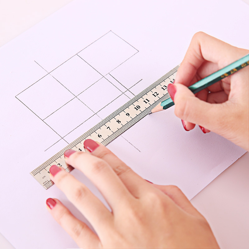 15cm 1PC Stainless Steel Straight Ruler Fine Inch  Centimeter Scale Office Student Drawing Line Tool High Precision Measurement