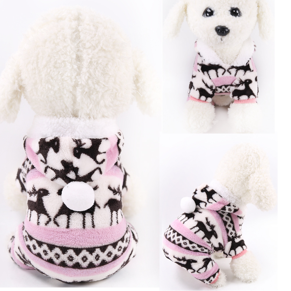 Dog Clothes Pajamas Jumpsuit Winter Pet Clothes Puppy Hoodies Fleece legs Warm Dog Clothing Outfit Small Dog Costume Apparel 11