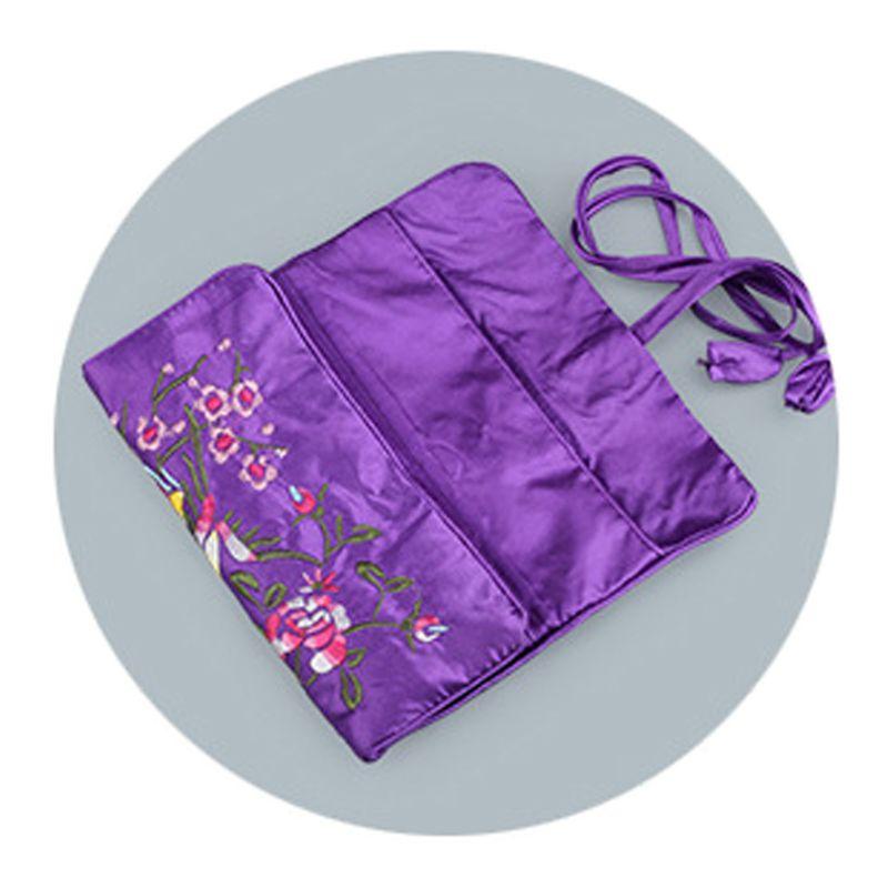 Oriental Silk Jewellery Roll Wrap Jewelry Pouch Organizer Travel Storage Case
