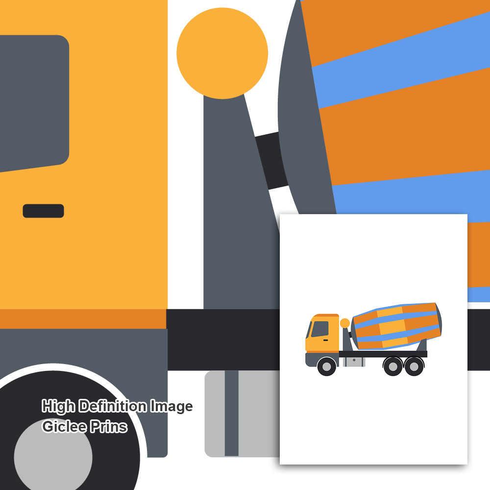 Hoạt hình Cần Cẩu Xe Ủi Con Lăn Xe Tải Xe Nâng Bắc Âu Áp Phích và In Hình Nghệ thuật treo Tường Vải Bố Tranh Treo Tường Hình Trẻ Em Trang Trí Phòng