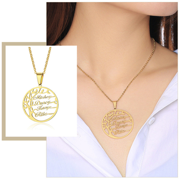 Custom Family Names Pendants Vintage Life Tree Women Necklace 1-5 Names Personalize Father Son Mother Daughter Birthday Gift rose gold color family tree necklace mother s necklace with birthstone grandmas gift custom gift for mother