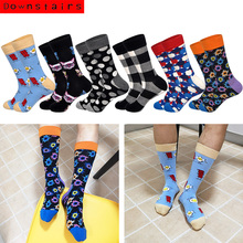 Downstairs Cat Men Socks 2019 Hot Lattice Skateboard Cotton Designer Dress 6 Colors Happy Calcetines Hombre Divertido