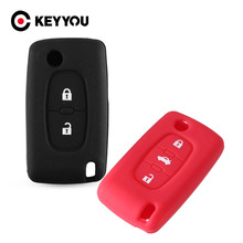 KEYYOU Silicone 2/3 Button Remote Flip Key Cover Case Fob For Peugeot 107 207 307 308 406 407 408 607 For Citroen C2 C3 C4 C5 C6