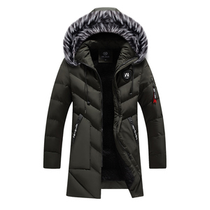 Image 3 - Chaqueta de invierno para hombre y mujer, abrigo grueso y delgado informal, Parkas con capucha, abrigos largos, Parka con cuello de piel, prendas de vestir