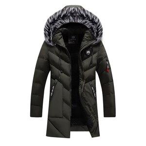 Image 3 - Winter Jacket Men Fashion Casual Slim Dikke Warme Jassen Heren Parka Met Capuchon Lange Overjassen Man/Vrouwen Bontkraag parka Uitloper
