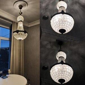 Image 5 - Ретро Винтаж Большой Круглый Французский Стиль Ампир led E14 хрустальная люстра современный 6 огней блеск лампа для гостиной лобби отеля